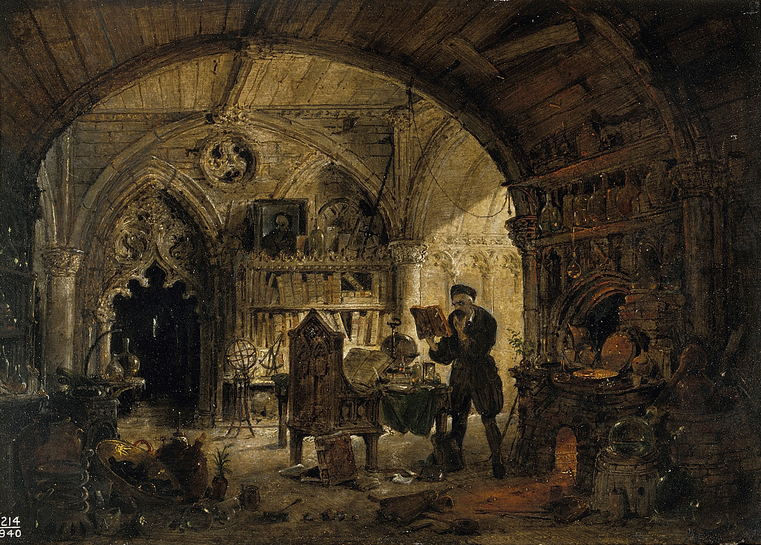 V0017640 An alchemist in his laboratory. Oil painting by James Nasmyt Credit: Wellcome Library, London. Wellcome Images images@wellcome.ac.uk http://wellcomeimages.org An alchemist in his laboratory. Oil painting by James Nasmyth. By: James NasmythPublished: - Copyrighted work available under Creative Commons Attribution only licence CC BY 4.0 http://creativecommons.org/licenses/by/4.0/